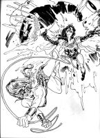 WonderWoman Vs Superwoman-inks by DragonArcher