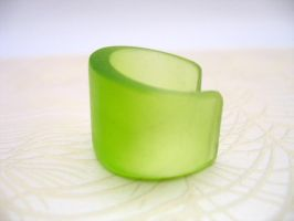 Green resin ring cuff by TopazTurtle