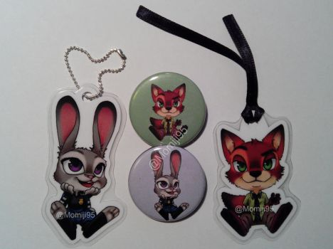Zootopia keychains and badges by Momiji95