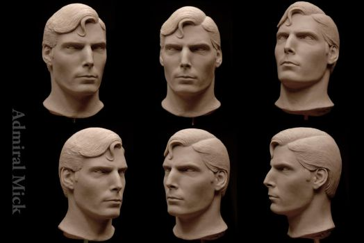 Reeve as Superman 1/4 scaled head sculpt by Admiral-Mick