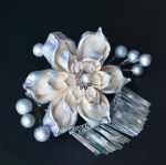 Cream and Silver Lotus for Wedding.  Hana Kanzashi by hanatsukuri