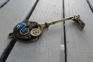 Dark Gold Antique Steampunk Key by TheClockworkCrow