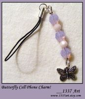 Butterfly Cell Phone Charm by 1337-Art