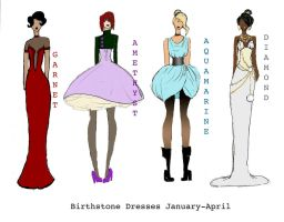 Birthstone Dresses by DangerousBellaGrim