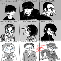Rook, Carrion and Jackdaw as kids etc. by SulphurSpoon