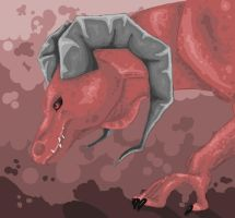 Red horned lizard by BlackSuicune