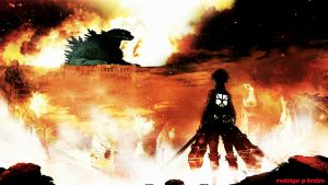 attack on godzilla= shingeki no gojira by brazilking