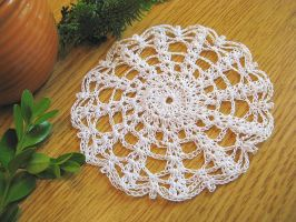 Crochet Spider Web Coaster with Spiders by doilydeas