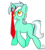 Lyra and her new tie by PoniesInBoxes