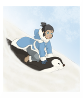 LOK: Little Korra- Penguin Sledding (Colored) by ButterflyMelodyFox