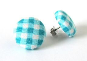 Blue gingham stud earrings button white plaid by KooKooCraft