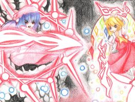 Flandre and Remilia V.S. You by H3lly-H0lly