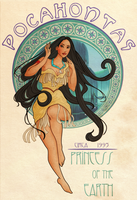 Disney Art Nouveau: Pocahontas by Wickfield