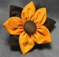 Yellow Fall Fabric Flower Hair Barrette by jenlucreations