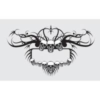 beautiful floral skull frame style banner by cgvector