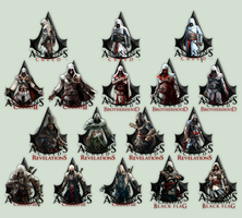 Assassin's Creed (I, II, BH, R, III, BF) Icons by Locix-ITA