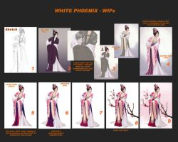 white phoenix WIP collage by thehiddensapphire