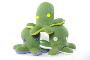 Green Upcycled Sweater Octopi by pookat