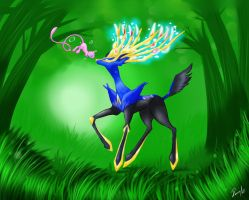 Xerneas and Mew encounter by allocen