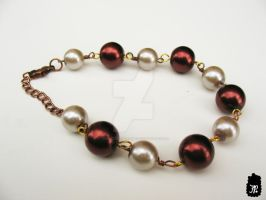 Brown Sugar and Cream Beaded Bracelet by TheFuzzyPineapple