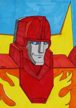 Hot Rod G1 Toy Portrait by PeterHammerson
