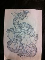 Peonies and dragon by Tat1onu