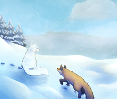 Foxes On Snow by Neko-Maya