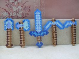 Minecraft: Perler Bead 5 Piece Diamond Weapon Set by heatbish