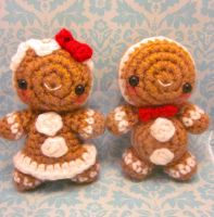 Lil Kawaii Christmas Gingerbread Set Amigurumi by Spudsstitches