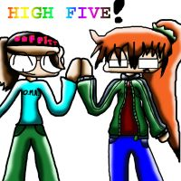 SAPH AND ME  high five by sesshi-girl