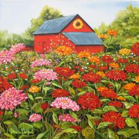 Barn with Zinnias by patdehart