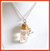 Hello Kitty Bottle Necklace by softbluecries