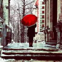 Girl with red umbrella. by inbrainstorm