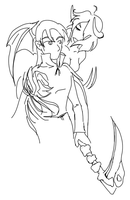 Lineart: OC Reaper w Succubus by fire-doused