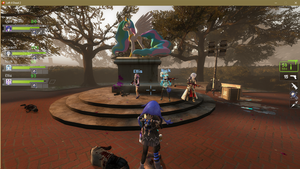 just a random neptunia survivors with a statue by OpsSham