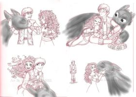 Hiccup and Merida by Redhead-K