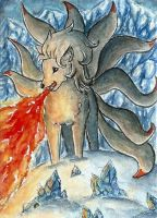 Ninetails Lady [ACEO] by Vhalesa