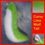 Curvy Lime Wolf Tail by Lascivus-Lutra