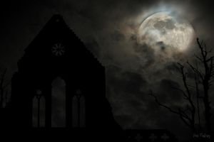 Dark ruin of an abbey against a moonlit sky by Sad-Fantasy