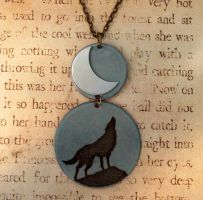 Wolf Howl Enamel Necklace by FusedElegance