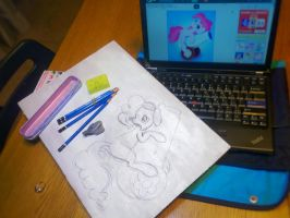 365 Days of Art - Day 37: Pin Up Pinkie Pie (WIP) by daniel10alien