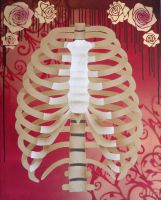 Rib Cage Stencil on Canvas2 by darcydoll