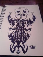 custom skeleton drawing with my name. by gbftattoos