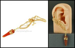 Gold and Carnelian Fairy Ear Cuff by sylva