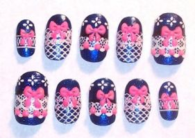 Blue and Pink lolita nails by The-Lady-of-Kuo