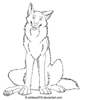 Cute sitting wolf lineart by UKthewhitewolf
