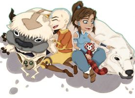 Avatars Aang and Korra by Sarsie