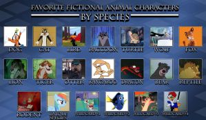 Favorite Fictional Animal Characters by Species by HeRodeABlazingCarpet