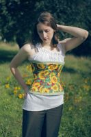 Sunflower Reversible Corset by TEMPERATE-SAGE