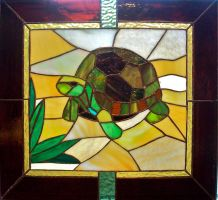 Turtle Stained Glass Panel by CadmiumCrab